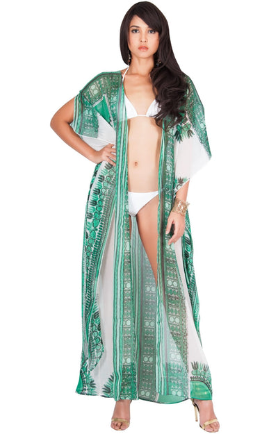 MONIQUE - Sexy Long Kaftan Short Sleeve Wrap Maxi Dress - Green / Large