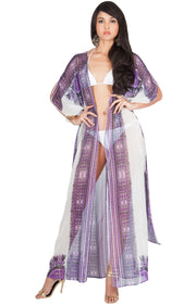 MONIQUE - Sexy Long Kaftan Short Sleeve Wrap Maxi Dress - Purple / Large