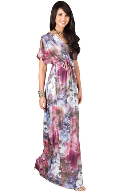 MYRA - Floral Print Summer Flowy Gown Caribbean Long Maxi Dress - Crimson Dark Red / 2X Large
