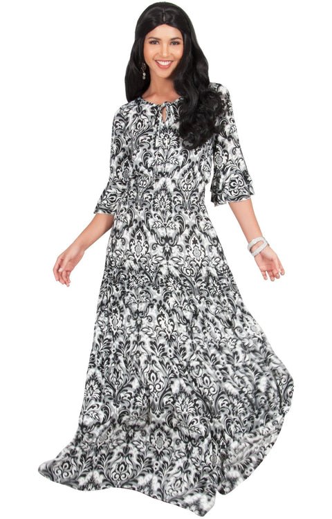 NADIA - Half Sleeve Ruffle Maxi Dress Smocked Printed