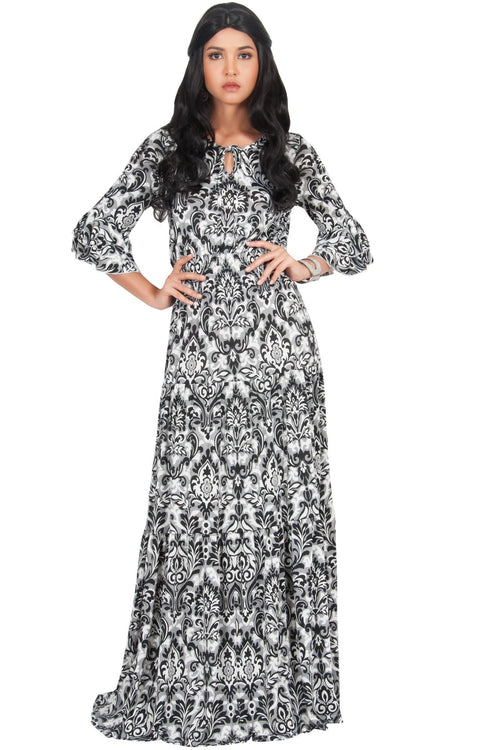 NADIA - Half Sleeve Ruffle Maxi Dress Smocked Printed - Black / 2X Large
