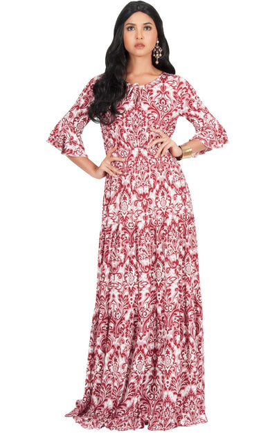 NADIA - Half Sleeve Ruffle Maxi Dress Smocked Printed - Crimson Dark Red / 2X Large