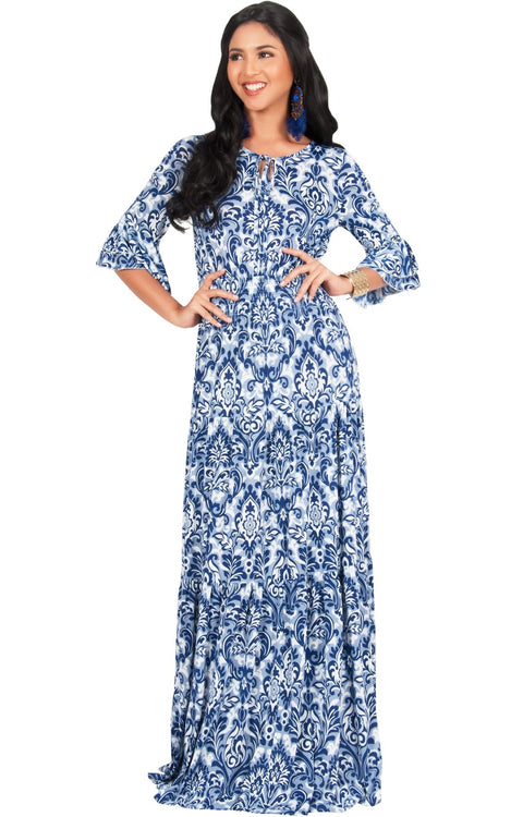 NADIA - Half Sleeve Ruffle Maxi Dress Smocked Printed - Dark Navy Blue / 2X Large