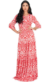 NADIA - Half Sleeve Ruffle Maxi Dress Smocked Printed - Red / 2X Large
