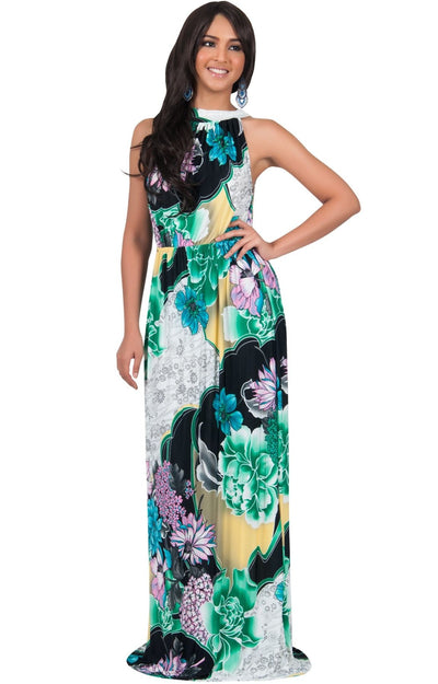 NATALIE - Sleeveless Long Floral Print Halter Neck Sundress Maxi Dress - Green & Black & White / Extra Large