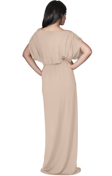 NICOLE - Elegant Grecian VNeck Cocktail Long Maxi Dress