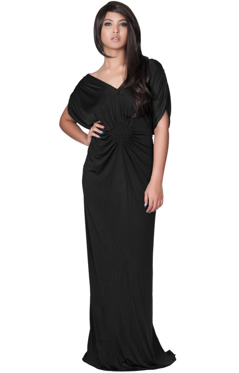 NICOLE - Elegant Grecian VNeck Cocktail Long Maxi Dress - Black / 2X Large