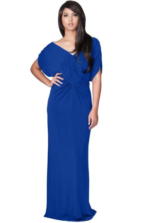 NICOLE - Elegant Grecian VNeck Cocktail Long Maxi Dress - Cobalt Royal Blue / Small