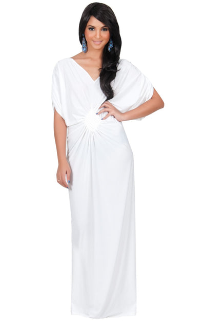 NICOLE - Elegant Grecian VNeck Cocktail Long Maxi Dress - Ivory White / 2X Large