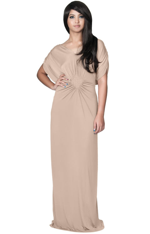 NICOLE - Elegant Grecian VNeck Cocktail Long Maxi Dress - Tan Light Brown / 2X Large