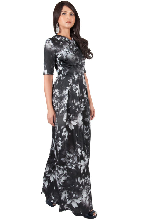 NIGELLA - Short Sleeve Summer Floral Print Maxi Dress