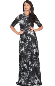 NIGELLA - Short Sleeve Summer Floral Print Maxi Dress - Black & Gray / 2X Large