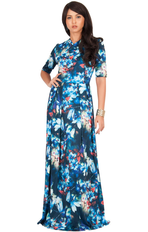 NIGELLA - Short Sleeve Summer Floral Print Maxi Dress - Blue & Green / 2X Large