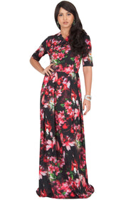 NIGELLA - Short Sleeve Summer Floral Print Maxi Dress - Red & Black / 2X Large