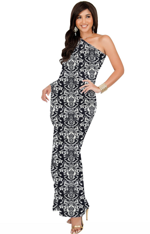 ODETTE - Long One Shoulder Cape Sleeve Damask Print Tube Maxi Dress - Black / Extra Small - Dresses