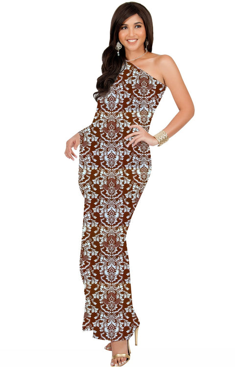 ODETTE - Long One Shoulder Cape Sleeve Damask Print Tube Maxi Dress - Brown / Extra Small - Dresses