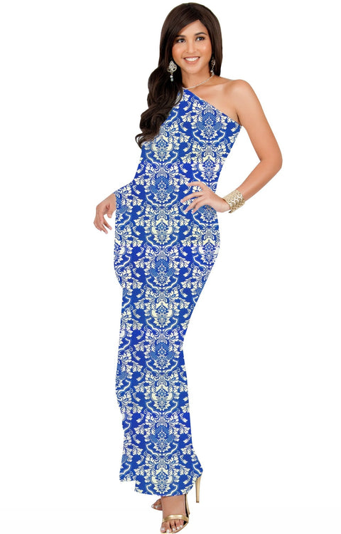 ODETTE - Long One Shoulder Cape Sleeve Damask Print Tube Maxi Dress - Cobalt Blue / Extra Small - Dresses