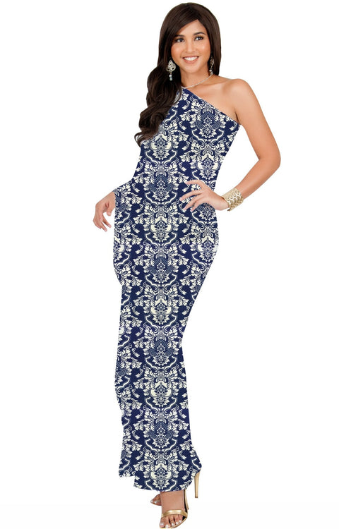 ODETTE - Long One Shoulder Cape Sleeve Damask Print Tube Maxi Dress - Navy Blue / Extra Small - Dresses