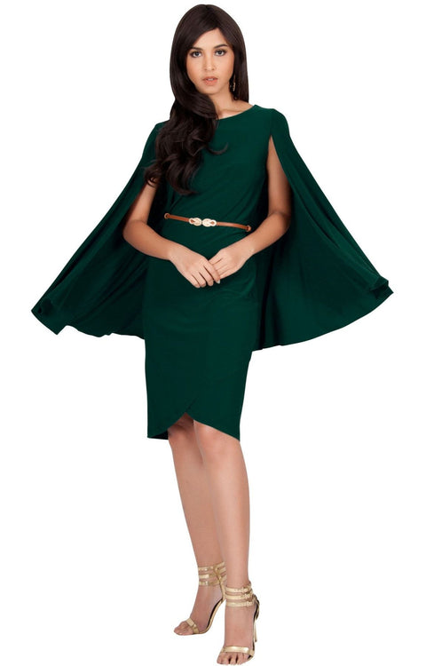 OPAL - Sleeveless Modest Knee Length Cloak Cape Evening Cute Midi Dress