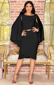 OPAL - Sleeveless Modest Knee Length Cloak Cape Evening Cute Midi Dress - Black / 2X Large