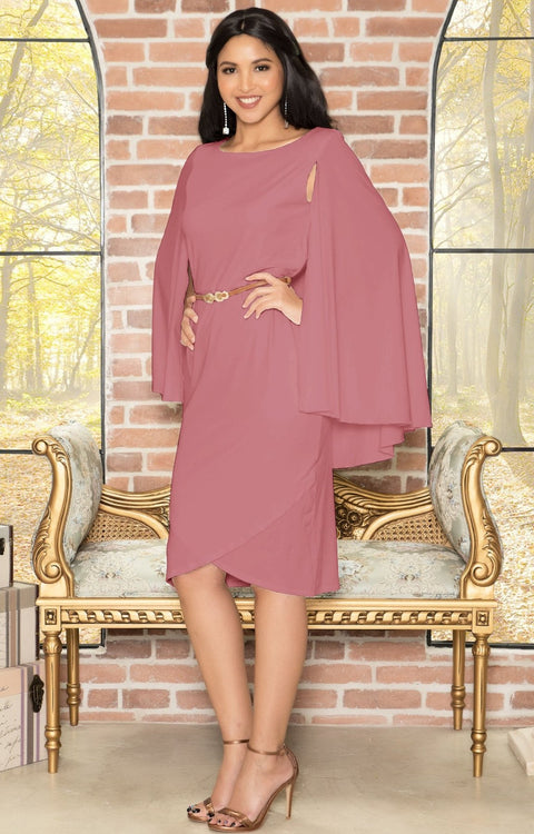 OPAL - Sleeveless Modest Knee Length Cloak Cape Evening Cute Midi Dress - Cinnamon Rose Pink / 3X Large