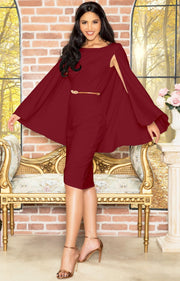 OPAL - Sleeveless Modest Knee Length Cloak Cape Evening Cute Midi Dress - Crimson Dark Red / 2X Large