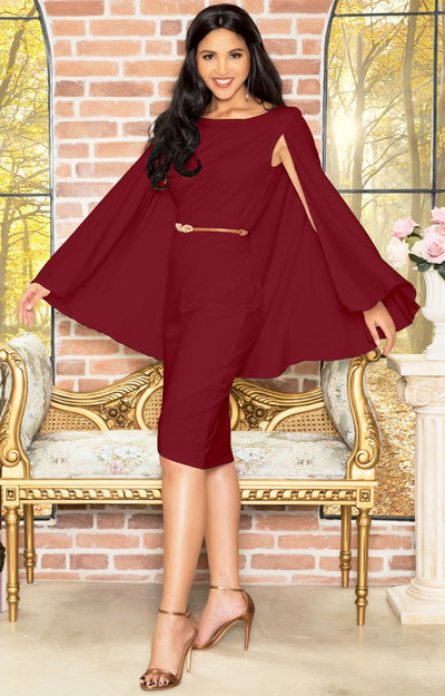 OPAL - Sleeveless Modest Knee Length Cloak Cape Evening Cute Midi Dress - Purple / 2X Large