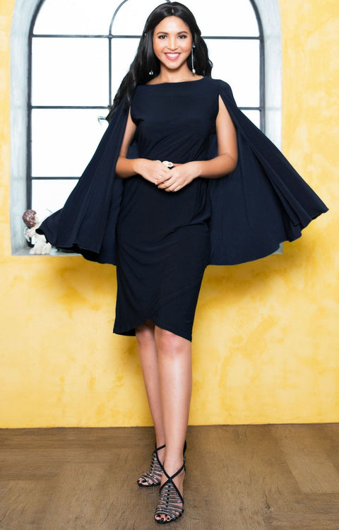 OPAL - Sleeveless Modest Knee Length Cloak Cape Evening Cute Midi Dress - Dark Navy Blue / 2X Large