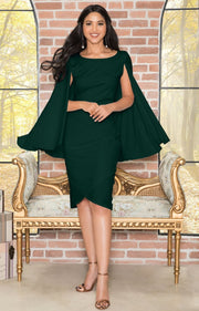 OPAL - Sleeveless Modest Knee Length Cloak Cape Evening Cute Midi Dress - Emerald Green / 2X Large