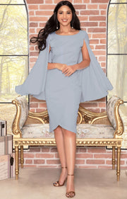 OPAL - Sleeveless Modest Knee Length Cloak Cape Evening Cute Midi Dress - Gray Grey / Extra Small