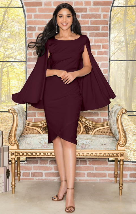 OPAL - Sleeveless Modest Knee Length Cloak Cape Evening Cute Midi Dress - Maroon Wine Red / Extra Small