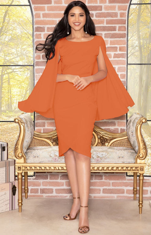 OPAL - Sleeveless Modest Knee Length Cloak Cape Evening Cute Midi Dress - Orange / 2X Large