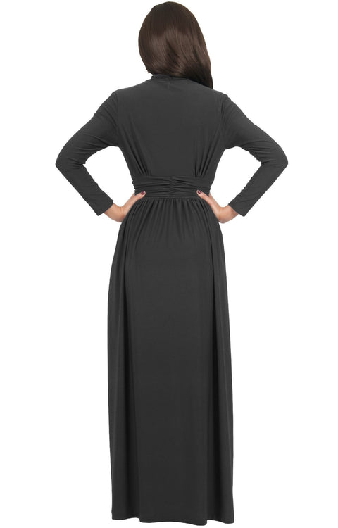 PAIGE - Elegant Evening Maxi Dress Gown Long Sleeve Stretchy Outfit
