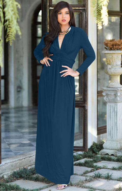 PAIGE - Elegant Evening Maxi Dress Gown Long Sleeve Stretchy Outfit - Blue Teal / 2X Large