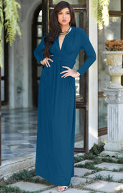 PAIGE - Elegant Evening Maxi Dress Gown Long Sleeve Stretchy Outfit - Dark Blue Jade / 2X Large