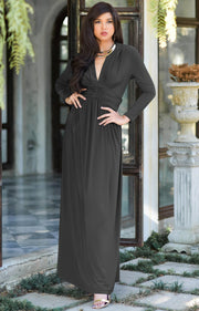 PAIGE - Elegant Evening Maxi Dress Gown Long Sleeve Stretchy Outfit - Dark Gray Grey / Extra Small