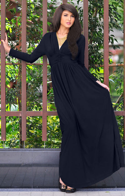 PAIGE - Elegant Evening Maxi Dress Gown Long Sleeve Stretchy Outfit - Black / 2X Large