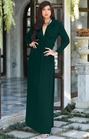 PAIGE - Elegant Evening Maxi Dress Gown Long Sleeve Stretchy Outfit - Emerald Green / 2X Large