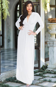 PAIGE - Elegant Evening Maxi Dress Gown Long Sleeve Stretchy Outfit - Ivory White / 2X Large