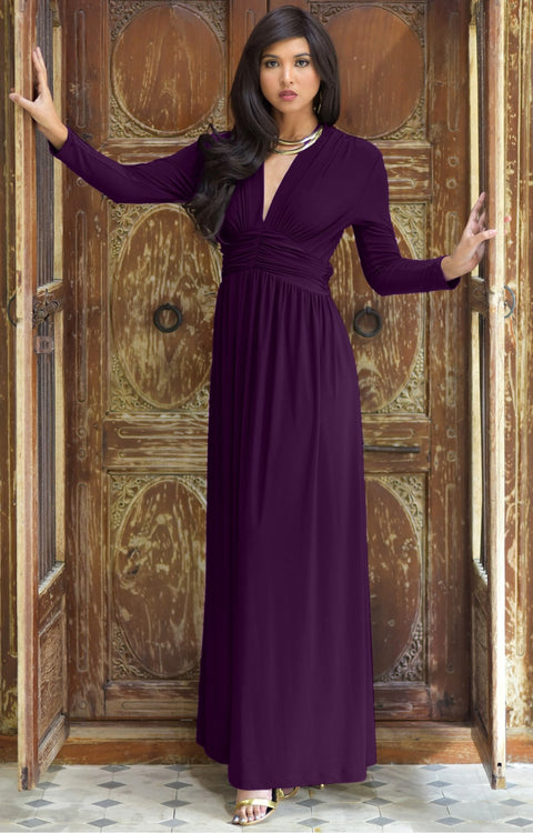 PAIGE - Elegant Evening Maxi Dress Gown Long Sleeve Stretchy Outfit - Purple / 2X Large