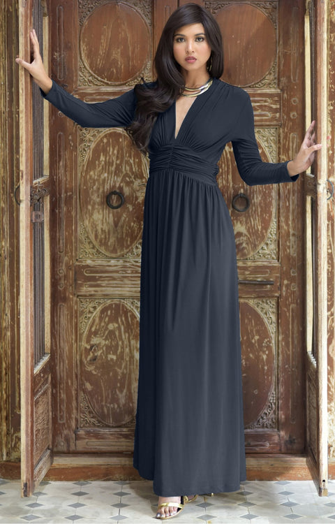 PAIGE - Elegant Evening Maxi Dress Gown Long Sleeve Stretchy Outfit - Slate Gray Grey / 2X Large