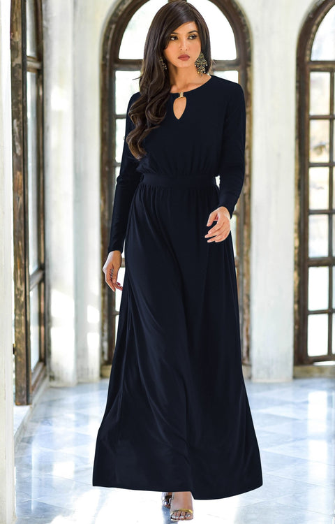 PAMELA - Winter Fall Long Sleeved Maxi Dresses for Women Modest Warm