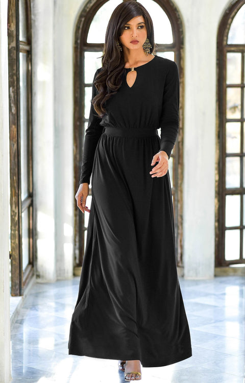 PAMELA - Winter Fall Long Sleeved Maxi Dresses for Women Modest Warm - Black / 2X Large