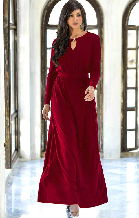 PAMELA - Winter Fall Long Sleeved Maxi Dresses for Women Modest Warm - Crimson Dark Red / 2X Large