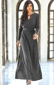 PAMELA - Winter Fall Long Sleeved Maxi Dresses for Women Modest Warm - Dark Gray Grey / 2X Large