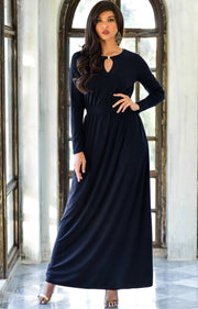 PAMELA - Winter Fall Long Sleeved Maxi Dresses for Women Modest Warm - Dark Navy Blue / 2X Large