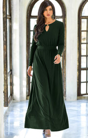 PAMELA - Winter Fall Long Sleeved Maxi Dresses for Women Modest Warm - Emerald Green / 2X Large