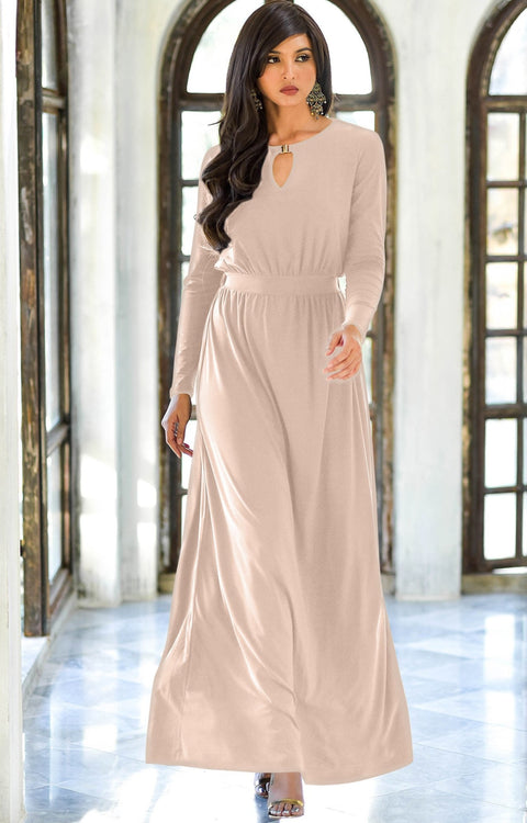 PAMELA - Winter Fall Long Sleeved Maxi Dresses for Women Modest Warm - Nude Champagne Brown / Small