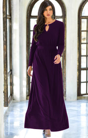 PAMELA - Winter Fall Long Sleeved Maxi Dresses for Women Modest Warm - Purple / 2X Large