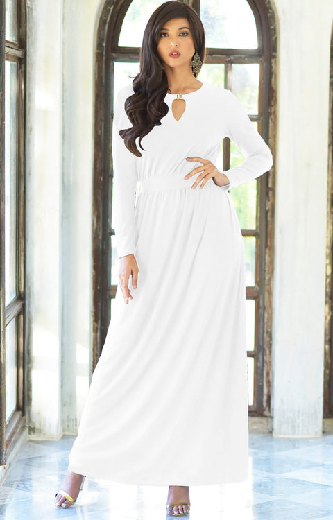 PAMELA - Winter Fall Long Sleeved Maxi Dresses for Women Modest Warm - White / 2X Large